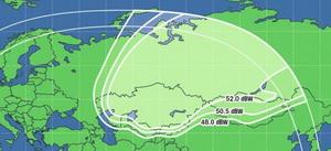 Зона покрытия спутника Экспресс АТ1, вещающего Триколор ТВ в Сибири